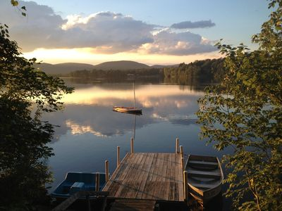 Our private dock on Richmond Pond has a spectacular view, especially at sunset.