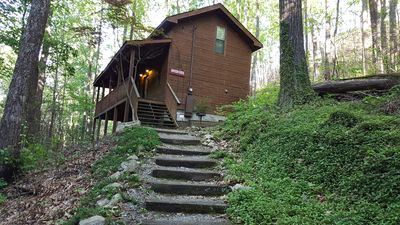 Photo for Romantic, private, wooded, Wifi, real wood cabin, close to attractions!