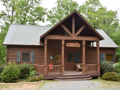 Photo for 4BR/3.5BA Cabin On The Toccoa River, Sleeps 12, Excellent Fishing, Wifi, Indoor/Outdoor Fireplaces,
