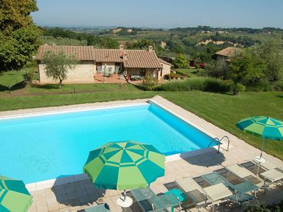 Photo for Apartment with WIFI, pool, TV, patio, pets allowed, panoramic view, parking, close to San Gimignano