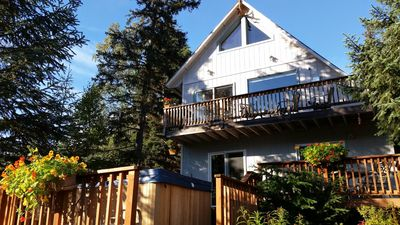 Steller Jay chalet east facing front with two decks and hot tub.