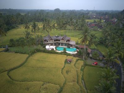 Aerial photo of Alise villa surrounded by rice paddies fields