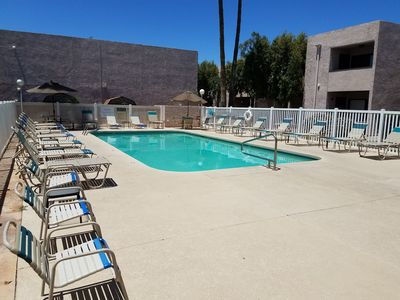 The Year round Heated pool is a bonus.  Steps out the front door.   Hot Tub too.