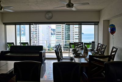 Awesome view from kitchen, dinning room and living room, the sea and fancy hotel