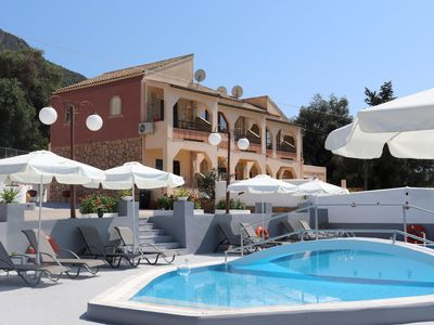 Photo for Great holiday flats with 90 sqm pool, close to the sea | Paramonas, Corfu