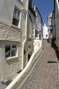 To your left, The Cobbles on beautiful Baileys Lane -the oldest part of St Ives