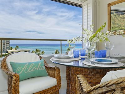 Photo for Ocean and Diamond Head views from quiet end of Waikiki Beachfront!