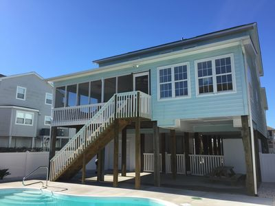 The large back porch and fenced in pool area with lots of shady places to relax!