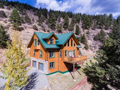 Photo for Beautiful Log Cabin Nestled in the Mountains, Hot Tub Under the Stars
