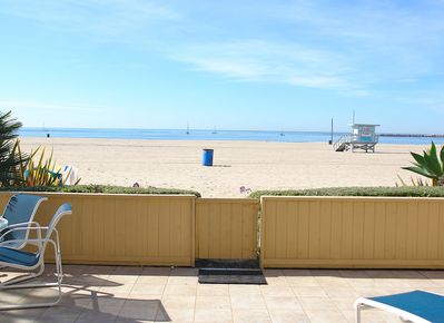 "Patio & ""private"" beach. Living & Dining Rooms & Kitchen have this view"