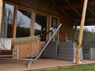 Photo for Luxurious, heated lodges near the dunes of Terschelling
