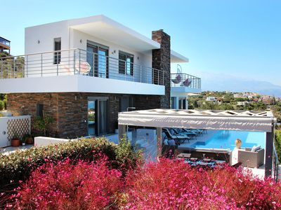 Photo for Luxury designer villa, private infinity pool, stunning views of Sea & Mountains.
