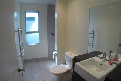 Master bedroom En Suite with Shower, vanity and toilet