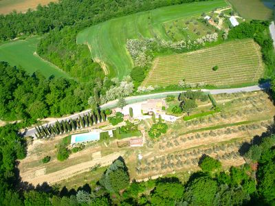 Overhead view of property, 10 acres, private pool,vineyard,olive orchard, garden