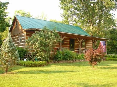 Photo for LOG HOME - TROUT STREAM - 3 ACRES - PRIVACY - GAME ROOM - FISHING ON PROPERTY