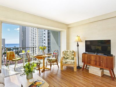 Photo for Ocean View plus central A/C, 5-10 minute walk to beach! Sleeps 4.
