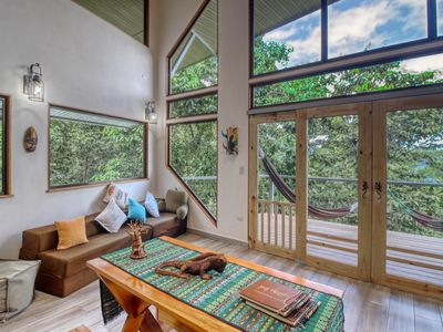 Photo for Luxury treehouse w/ a full kitchen, furnished balconies, & amazing views