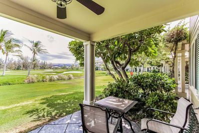Lanai with golf course view