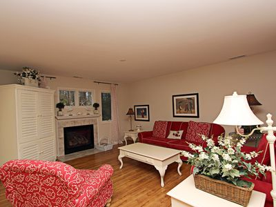Great Room with TV and gas fireplace Seating for the whole family.