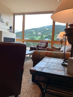 Living area view of ski slopes.