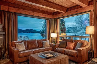 Living Room with a Lake & Mountain View.