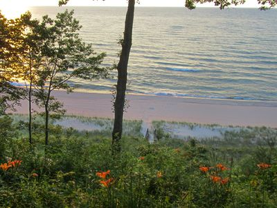 Photo for Rustic lakefront house with private beach, great view of Lake Michigan!