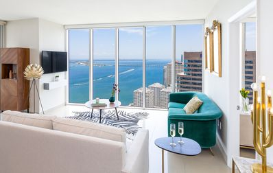 Photo for UNOBSTRUCTED BAY VIEW, NEW CORNER UNIT, W RESIDENCES, WI-FI, FREE POOL, SPA, GYM