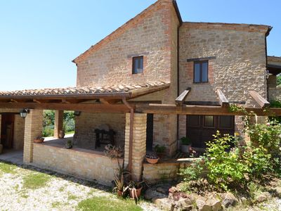 Photo for Apartment with stunning views of the Sibillini mountains , surrounded by nature , with wifi and pool