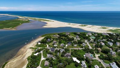 Location of the house up the street from Priscilla Inlet, steps to Nauset Beach