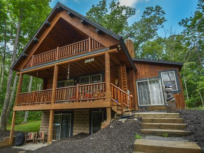 Photo for Lured Away: Spacious Log Cabin with Hot Tub