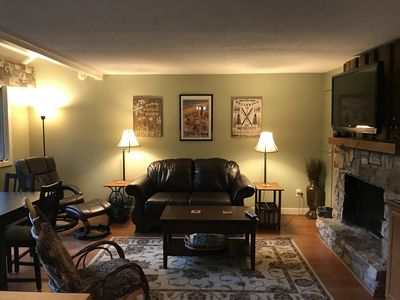 Photo for Perfect Condo for 2 Families! Sleeps 8!  Walk to slopes!
