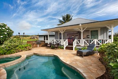 The private pool and spa of this Kukuiula Vacation Rental #34