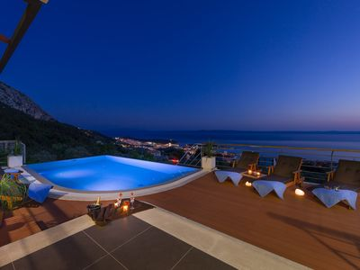 Photo for NEW House, terrace, heated infinity pool overlooking the sea, wifi, BBQ