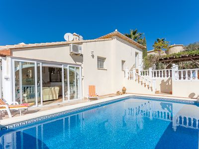 Photo for A beautiful 2 bedroomed villa with private pool, garden, French/international TV