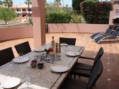 Photo for Luxurious apartement and lovely pool near beaches and golf in 5 * complex
