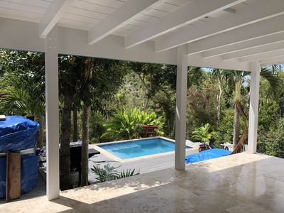 Fabulous back-yard saltwater (low-chlorine) pool (10' x 14') with spa jets.