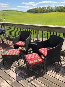 Upstairs back deck seating