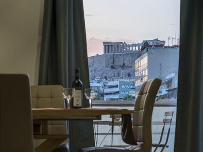 Photo for Bright 2 bedrooms apt. in the heart of Athens w stunning views to Acropolis