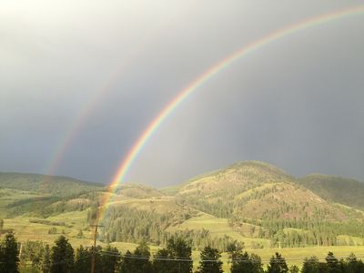 This is a view from our deck. Rainbow in paradise.