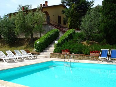 Photo for Wonderful private villa with private pool, WIFI, TV, terrace, pets allowed, parking, close to Arezzo