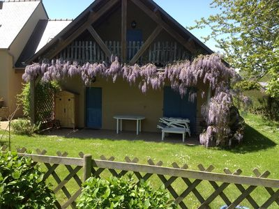Photo for Rental house in flower garden, rustic setting close to the sea