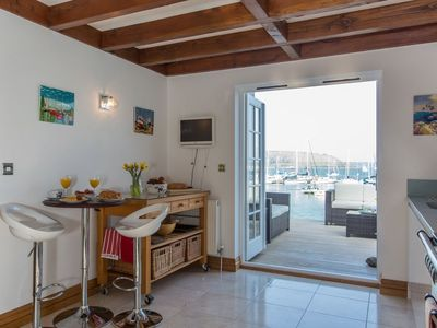 Kitchen is well equipped for self catering and opens onto terrace