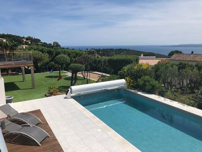 Photo for Villa ground floor sea view Saint Tropez heated pool April to November / SPA 37 °