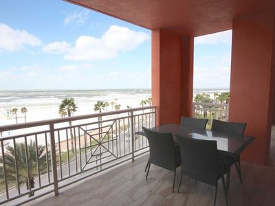 Photo for Luxe Pet Friendly, Beachfront Balcony with Wet Bar, Pool, Hot Tub, Gym, W/D, 2 masters- 401 Aqualea