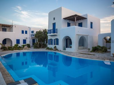 Photo for Villa Ylenia in Ornos, Mykonos, with sea view, shared pool, 3 bedrooms, 8 sleeps