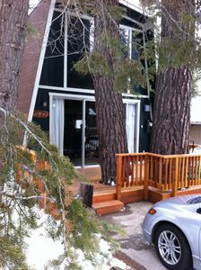 Two large pines give our cabin a woodsy feel-and inspired its name!