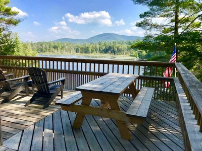 Picnic table and View from the side deck