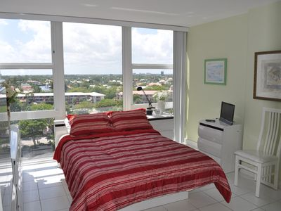 Besides a new queen bed, the bedroom is bright and cheerful with a great view.