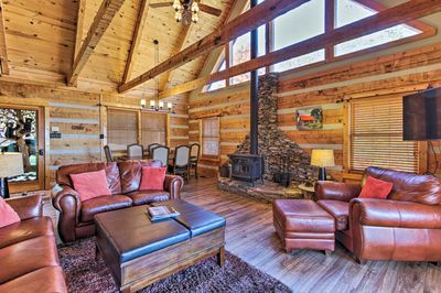 The interior is cozy and rustic, with 2,150 square feet of living space.