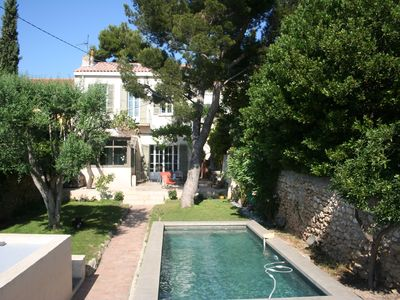 Photo for Charming house with pool, garden, sea view, near downtown